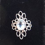 Sterling Silver Flower Topaz Ring