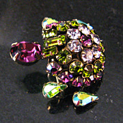 Lovely Vintage Schreiner Trembling Turtle Brooch