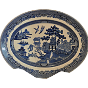 """Vintage Blue Willow 12"""" Oval Platter by Johnson Brothers England"""