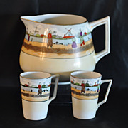Antique Lemonade/Cider Pitcher With 2 Cups Hand Painted with Dutch Scene