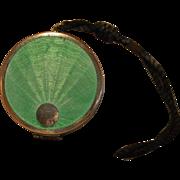 SALE L'Odaris de Paris Green Guilloche Enamel and Silver Art Deco Compact with Strap