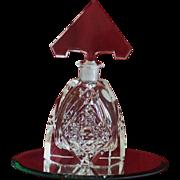SALE Sparkling Art Deco Cut Glass Large Perfume/Scent Bottle with Original Stopper
