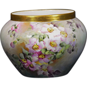 Délinieres &Co (D&Co)  Limoges Hand Painted Jardinière with Pink Dogwood Blossoms and Gold Trim Artist Signed