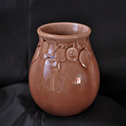 Rookwood Vase #2122 Dated 1950 Tan Glaze with Three Dimensional Designs of Rosehips
