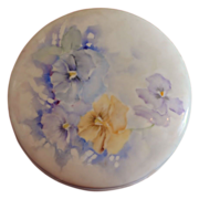 Limoges Hand Painted Artist Signed Round Dresser Box