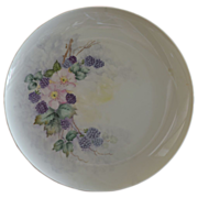 Hand Painted Large Charger Decorated with Blackberries and Primroses Artist Signed