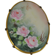 SALE Large Hand Painted Oval Porcelain Pin with Pink Roses