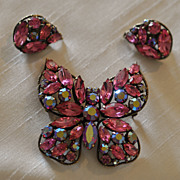 SALE Regency Large Pink and Red Aurora Borealis Butterfly Brooch with Matching Earrings