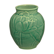 SALE Turquoise Rookwood Vase with Lotus Blossoms # 6833 Dated 1948