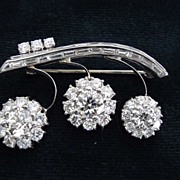 SALE Lovely 14 Karat White Gold Diamond Brooch