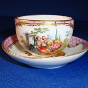 SALE Dresden Miniature Cup and Saucer, Helena Wolfsohn