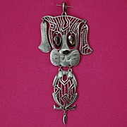 SALE ALAN Silver Tone Dog Pendant