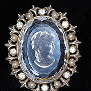 SALE Vintage Crystal Intaglio Cameo Pin/Pendant