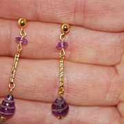 Amethyst Briolette And Vermeil Earrings