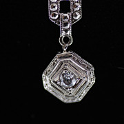 Art Deco 14K White Gold and Diamond With Marcasites Necklace