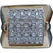 SALE Huge Gent's 14K Yellow Gold Diamond Ring