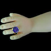 Vintage Madame Alexander Cissy Doll Jewelry Rhinestone Sapphire Blue Ring