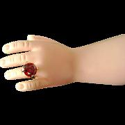 Vintage Madame Alexander Cissy Doll Jewelry Rhinestone Ruby Red Ring