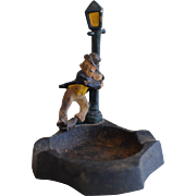Unique Cast Iron Ashtray of a Drunk and Lamp Post