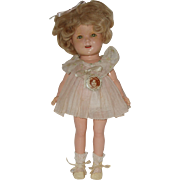 """SALE 13"""" Composition Shirley Temple Doll With Original Tagged Dress  Circa 1934"""