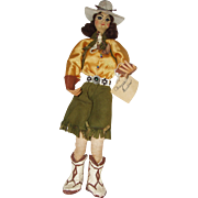 """10"""" Kimcraft Cowgirl Doll Hand Made In The 1940's"""