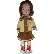 """All Original 17"""" Hard Plastic  Mary Jane Doll In Tagged Cowgirl Outfit Circa 1953"""