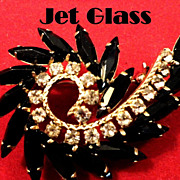 REDUCED VINTAGE beautiful Navette jet black stones with clear rhinestones brooch pin