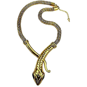 SALE VINTAGE Egyptian Revival Cobra snake necklace with mesh chain in brass