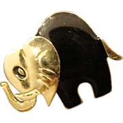 SALE VINTAGE Cute Gold tone Elephant pin brooch black enamel