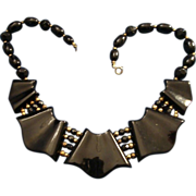 REDUCED VINTAGE Egyptian Revival bib Necklace choker black Lucite sections with Gold tone bead