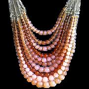 SALE VINTAGE Fabulous 10 strand graduated lucite bead necklace