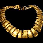 SALE VINTAGE signed AK necklace in brushed gold tone fringe bib