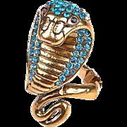 VINTAGE Gold tone Rhinestone Encrusted cobra Snake Ring size 7-8