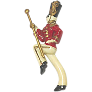 SALE VINTAGE 40s Drum Majorette Brooch in celluloid with moveable gold baton.