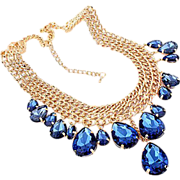 SALE VINTAGE 3 strand gold tone link chain necklace with tear drop dangle sapphire lucite rhin