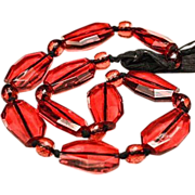 SALE VINTAGE Large Ruby glass bead necklace with black silk ribbon