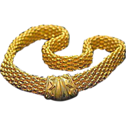 SALE VINTAGE Rich gold-tone mesh link necklace with Egyptian inscribed magnetic clasp, C 70s