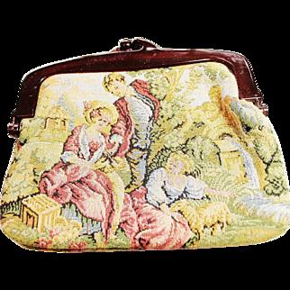 SALE VINTAGE La Regale  Needlepoint bag with tortoise shell lucite snap handle 18th century motif