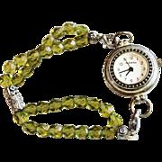 SALE VINTAGE 2 strand Moss green glass bead watch in silver tone by Narmi