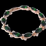 SALE VINTAGE 14k gold filled Austrian crystal emerald bracelet with pave rhinestones