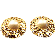 SALE VINTAGE French designer style Faux Pearl clip on earrings with gold tone linked border