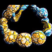 SALE VINTAGE Silk Batik print wrapped large bead necklace