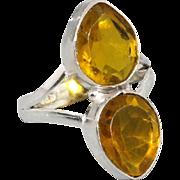 SALE VINTAGE Citrine Quartz & 925 Silver Overlay Ring US 7