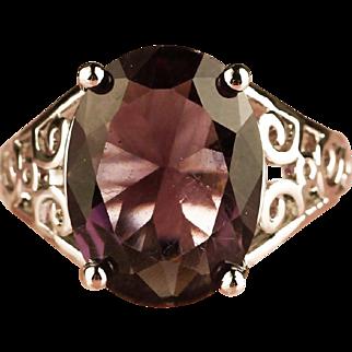 SALE Vintage 925 Sterling Silver filigree Amethyst Ring size 7