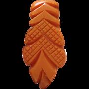 SALE VINTAGE Estate deep carved Butterscotch bakelite dress clip C 30s