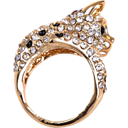 SALE VINTAGE Darling Gold tone leopard ring with spots in crystal size 7