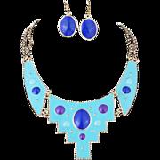 SALE PENDING VINTAGE Aqua enamel bib choker and pierced earring set with Lapis Blue lucite cab