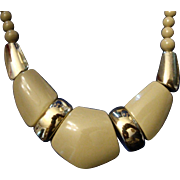 SALE VINTAGE Egyptian Revival bib Necklace choker taupe Lucite sections
