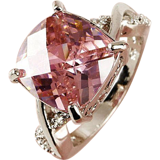 SALE VINTAGE Ring in Beautiful Pink topaz gemstone sterling silver ring size 7