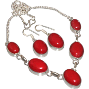 SALE VINTAGE demi parure Red coral gemstone sterling silver choker and pierced earrings